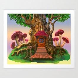 House and tree. Art Print