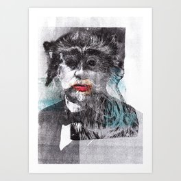 Mustache Red Lips Art Print