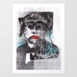 Mustache Red Lips Art Print
