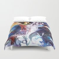 sun and moon Duvet Covers featuring Moon and Sun  by Hai-ning