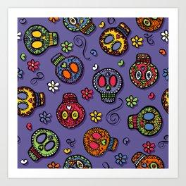 Sugar Skulls (on purple) - calavera, skull,  halloween, illustration Art Print