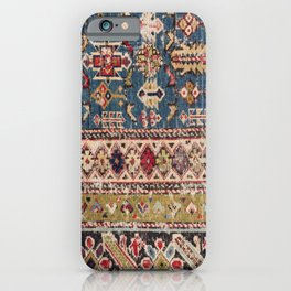 Dusty Blue Green Kuba II 19th Century Authentic Colorful Mustard Bands Vintage Patterns iPhone Case