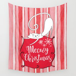 Meowy Christmas Wall Tapestry