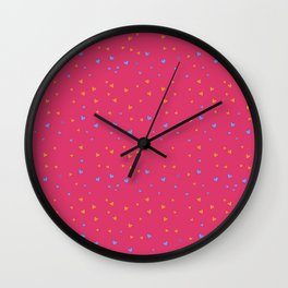 St. Valentine's Day Pattern. Pink pattern, blue and yellow small hearts Wall Clock