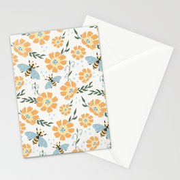 Honey Bees and Orange Flowers Stationery Cards