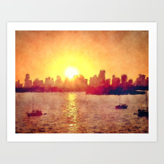Sunset Over Miami Florida Art Print