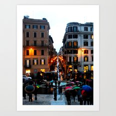 Rain in Rome in Colour Art Print