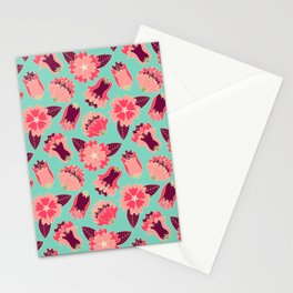 flat flowers - pattern Stationery Cards