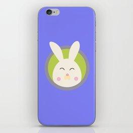 Cute rabbit head with blue circle iPhone Skin