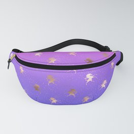 Pink Purple Blue Gradient With Rose Gold Unicorn Pattern Fanny Pack