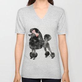 Black Poodle Pink Bow Watercolor Unisex V-Neck