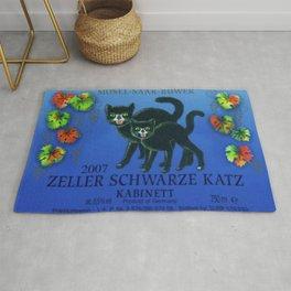 Vintage Autumn Leaves Zeller Riesling Cats Wine Bottle Label Print Rug