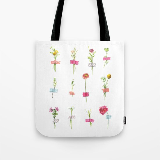 Watercolor Washi Tape Sprigs Tote Bag