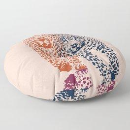 Kitten Club - Navy, Orange & Purple Leopard Print by Kristen Baker Floor Pillow