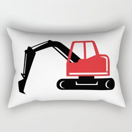 Mechanical Excavator Digger Retro Icon Rectangular Pillow