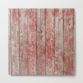 Rustic red wood Metal Print