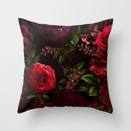 Mystical Night Roses Throw Pillow