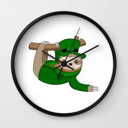 ST PATRICKS DAY IRISH Sloth Ireland Gift Kids Wall Clock