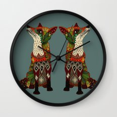 fox love juniper Wall Clock
