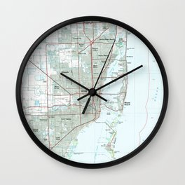 Miami Florida Map (1981) Wall Clock