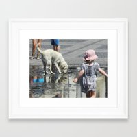 toddler Framed Art Prints featuring White Dog and Toddler by Dan Jordache