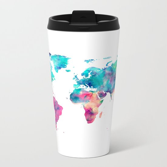 World Map Turquoise Pink Blue Green Metal Travel Mug