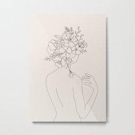 Woman with Flowers Minimal Line II Metal Print