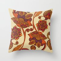 boho Throw Pillows featuring Boho Flowers by Valentina Harper