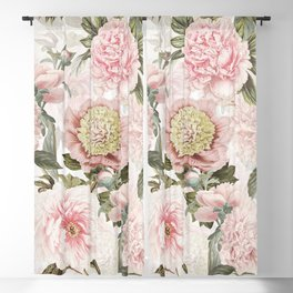 Vintage & Shabby Chic - Antique Pink Peony Flowers Garden Blackout Curtain