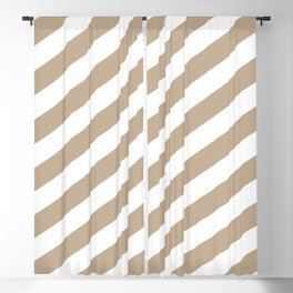 Pantone Hazelnut & White Stripes Fat Angled Lines - Stripe Pattern Blackout Curtain