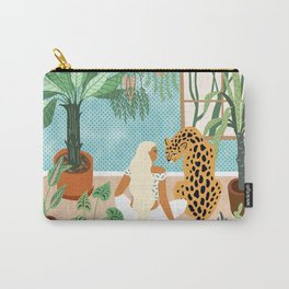 Urban Jungle Illustration, Tiger Home Decor, Woman & Modern Bohemian Wildlife Painting Carry-All Pouch