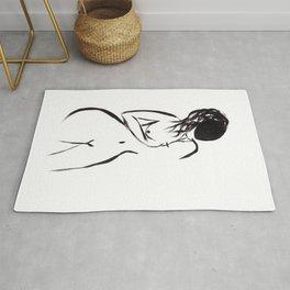 Abstract Black Woman Rug