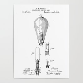 patent art Edison 1892 Incandescent electric lamp Poster