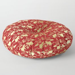 Chinese New Year of The Rat Pattern - Red and Gold Floor Pillow