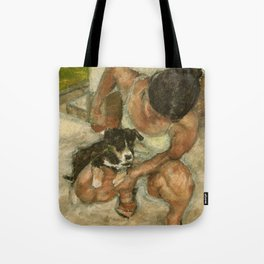 Girl Playing with Puppy Dog Impressionist Oil Painting Tote Bag