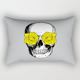 Skull and Roses | Grey and Yellow Rectangular Pillow