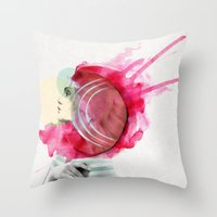bright Throw Pillows featuring Bright Pink  by Jenny Liz Rome