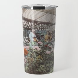 Greenhouse with Peonies Vintage Japan Photo Travel Mug