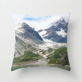 Alaskan Massive Glacier Flow Between Majestic Mountains Throw Pillow