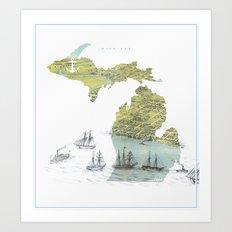 Ships Along the Shore - Michigan circa 1868 Art Print