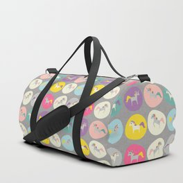 Cute Unicorn polka dots grey pastel colors and linen texture #homedecor #apparel #stationary #kids Duffle Bag