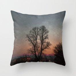 Starry Norwegian winter night Throw Pillow