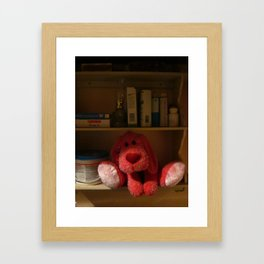 Red Dog Kept On A Shelf Framed Art Print