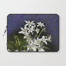 White 6 Petal Star Wildflowers Laptop Sleeve