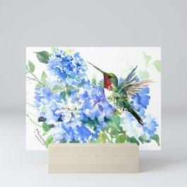 Hydrangea Flowers and Ruby Throat Hummingbird Mini Art Print