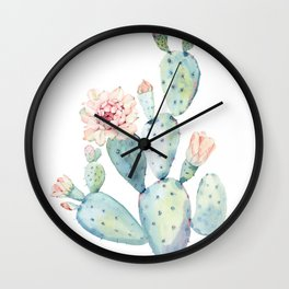 Pastel watercolor prickly pear cactus Wall Clock