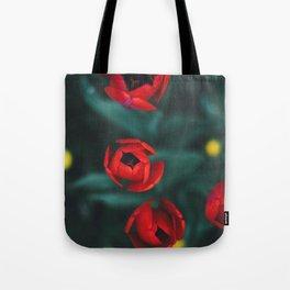 Red roses yellow Tote Bag
