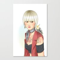 birdy Canvas Prints featuring Birdy by Lotty