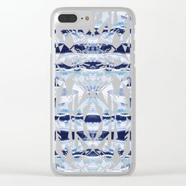 Blue ethnic blue cut out Clear iPhone Case