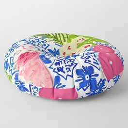 PINK PARROT AND PORTUGESE TILES Floor Pillow